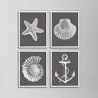 """Set of 4 Nautical Prints. Bathroom Posters. Shell. Star Fish. Anchor. Brown and White. Vintage Inspired. 8.5x11"""" Prints"""