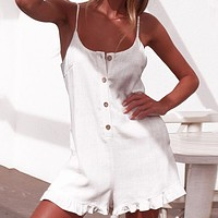 Casual White Spaghetti Strap Rompers Women Party Beach Overalls Square Collar Playsuits Sleeveless Streetwear