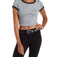 Gray Cropped Sweater Knit Ringer Tee by Charlotte Russe