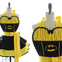 """Pin-Up Apron """"Batgirl"""" -- Sexy in Gotham Chic"""