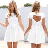 SABOSKIRT  White Dress -NWT, cutout heart back