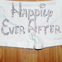 Happily Ever After. Disney Font. Bride Boy Shorts. Bridal Shower Gift. Ideas. Black. White. Bride To Be clothing. honeymoon. Beach Wedding.