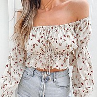 Fashion Floral Print Women Crop Tops and Blouse Female Casual Holiday Long Sleeve Lace up Short Shirt Chic Bell Sleeve