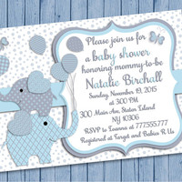 Elephant Baby shower printable invitation baby boy digital invite personalized invitation blue gray balloons party invite DIY birthday card