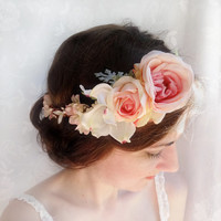thehoneycomb, blush pink bridal hair accessories, mint green wedding head piece, bridal flower crown -LAMBS EAR- floral hair wreath, roses