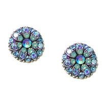 Mariana Antique Silver Plated Flower Post Earrings with Swarovski Crystals