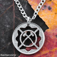 Fireman Necklace Maltese Cross with crossed Axes, hand cut quarter