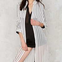 J.O.A. Over and Out Sheer Trench Coat