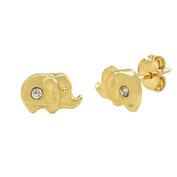 Tiny Elephant with CZ Stud Earrings 10k Yellow Gold with Pushbacks 5x7