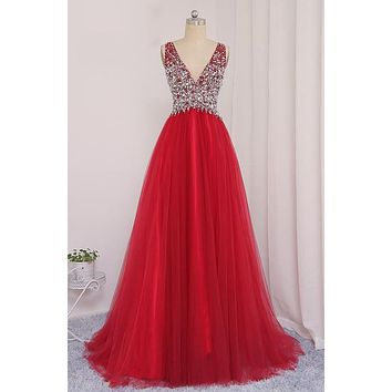 New Style Prom Dress Beaded Bodice, Prom Dresses long, Evening Dress, Formal Dress, Ball Gown CD0095
