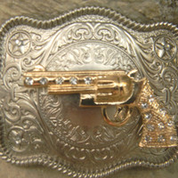 Gun Belt Buckle, Gold Gun Belt Buckle, Rhinestone Gun Western Engraved Womens Mens Belt Buckle, Medallion,  Rhinestone Belt Buckle