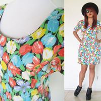 Vintage tulip balloon skirt puff sleeves blue red yellow floral flower summer dress