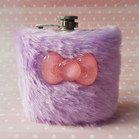 Mega Cute Flask for Her, Pastel Goth, Furry Hip Flask Lilac Purple Fur, Kawaii Flask, Lolita, Girly Flask, Women's Flask, Soft Grunge