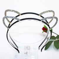 Girls Shine Cat Ear Princess Hairband Child Birthday Party Crown Headband Kids Crystal Diamond Tiara Hair Bands Hair Accessories