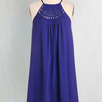 Mid-length Sleeveless Shift, Tent Trapeze-y on the Eyes Dress in Lapis