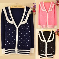 Women New Vogue V Neck Cardigan Button Down Sweater Knitting Top Heart Printed