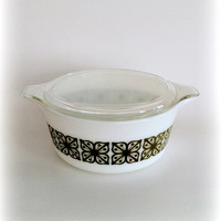 Vintage Pyrex Casserole Green Square Flowers : Cool Mod Look
