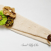 Floral Embellished Knit Headwrap - Natural, Knit Ear Warmer, Cold Weather Headband, Womens and Girls Winter Headband