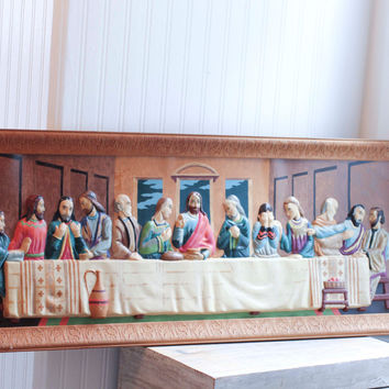 Vintage 2D Last Supper Painting - Large Panoramic Religious Art Decor