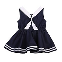 Baby Kids Girls Cotton Dress navy Striped Bow Tie Dresses