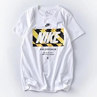 Nike Trending Women Men Stylish Logo Letter Print Round Collar Sport T-Shirt Top Blouse White