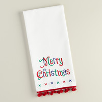 Red and White Merry Christmas Embroidered Kitchen Towel - World Market