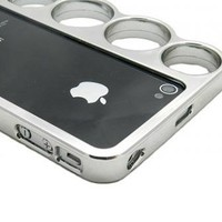 Silver new brass knuckle hard back cover case for iPhone 4 4s 4g 4gs