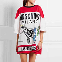 Moschino Women Fashion Print Long Tunic Shirt Top Blouse