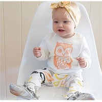 Abacaxi Kids Owl Outfit with Headband 3M-4T