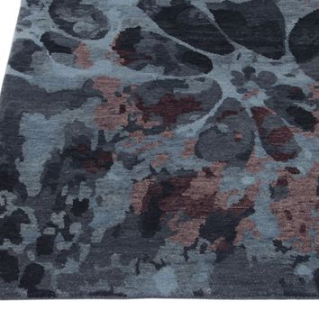Abstract Multi Color Hand Knotted Tibetian Modern Style Woolen Area Rug