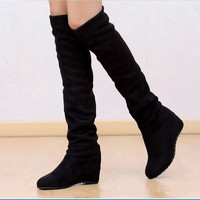 NEW Women's Elastic Stretch Suede Over Knee boots Elegant wedge heel Warm Boots Hot Lady Fashion Boots Shoes Round Toe inside Increase Heels shoes 2Color Comfortable soft boots Femal height Increasing Shoes = 1958416644
