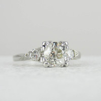 Old European Cut Three Stone Platinum Diamond Engagement Ring, 1.04 Carat, Circa 1930s