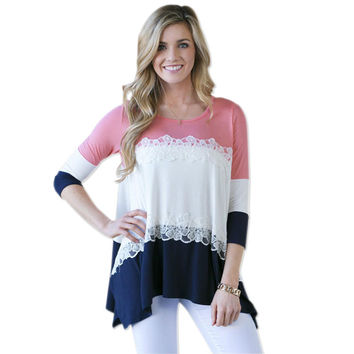 Casual O-Neck Long Sleeve Lace Top