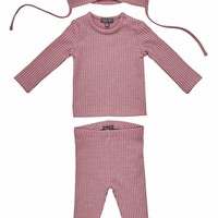 Pompomme Baby Girls Lilac Ribbed Set