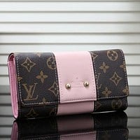 Louis Vuitton LV Newest Fashion Women Leather Buckle Purse Wallet Pink