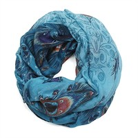 HauteChicWebstore Peacock Feather Print Infinity Scarf in Turquoise - www.shophcw.com