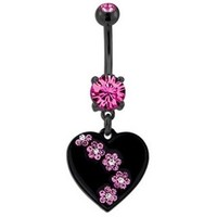 Pink Gem Flower Black Heart Belly Ring