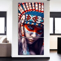 Native American Indian Girl Print Wall Art on Canvas 3 Panel Picture