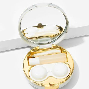 Mirror Detail Round Contact Lens Case Set 5pack
