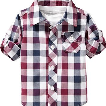 Plaid Roll-Sleeve Shirts for Baby