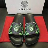 Versace Print Leather Slides Sandals Dsu6770