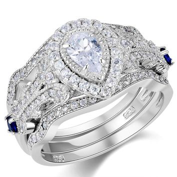 3 Pcs 925 Sterling Silver Pear Cut AAA CZ Blue Side Stone Engagement Ring Set