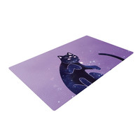 "KESS Original ""Cosmic Kitten"" Celestial Animal Woven Area Rug"