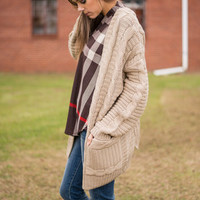 Safe And Warm Cardigan, Taupe