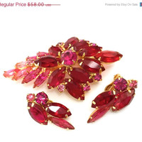 Red and Fuchsia Rhinestone Brooch and Earring Demi