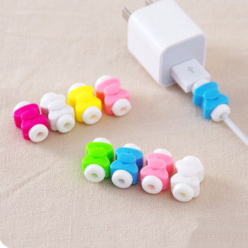 Cute 10Pcs New Protector Saver Cover for Phone Lightning USB Charger Cable Cord Cute free shipping