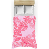 Tropical leaves flaming pink duvet cover