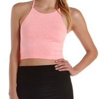 Racer Front Slub Knit Crop Top by Charlotte Russe