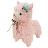 Plush Toy for Kids PINK Alpaca in Pillbox Hat Stuffed Lamb 35CM