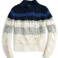 J.Crew Point Sur Colorblock Pointelle Crewneck Sweater | Nordstrom